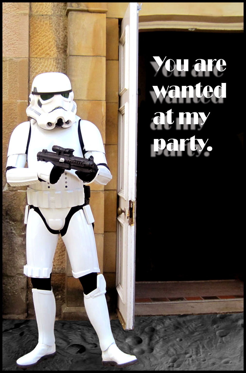 Party invitation with stormtrooper