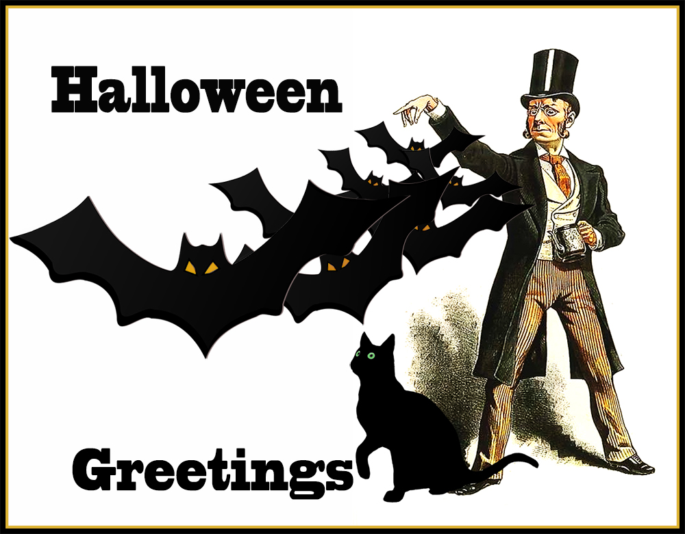 Scary Halloween postcard