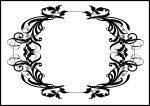 Black frame in oval shape