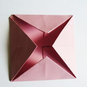 pink origami rose folding