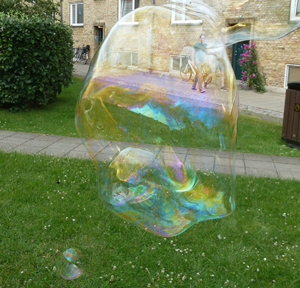 huge soap bubble floating
