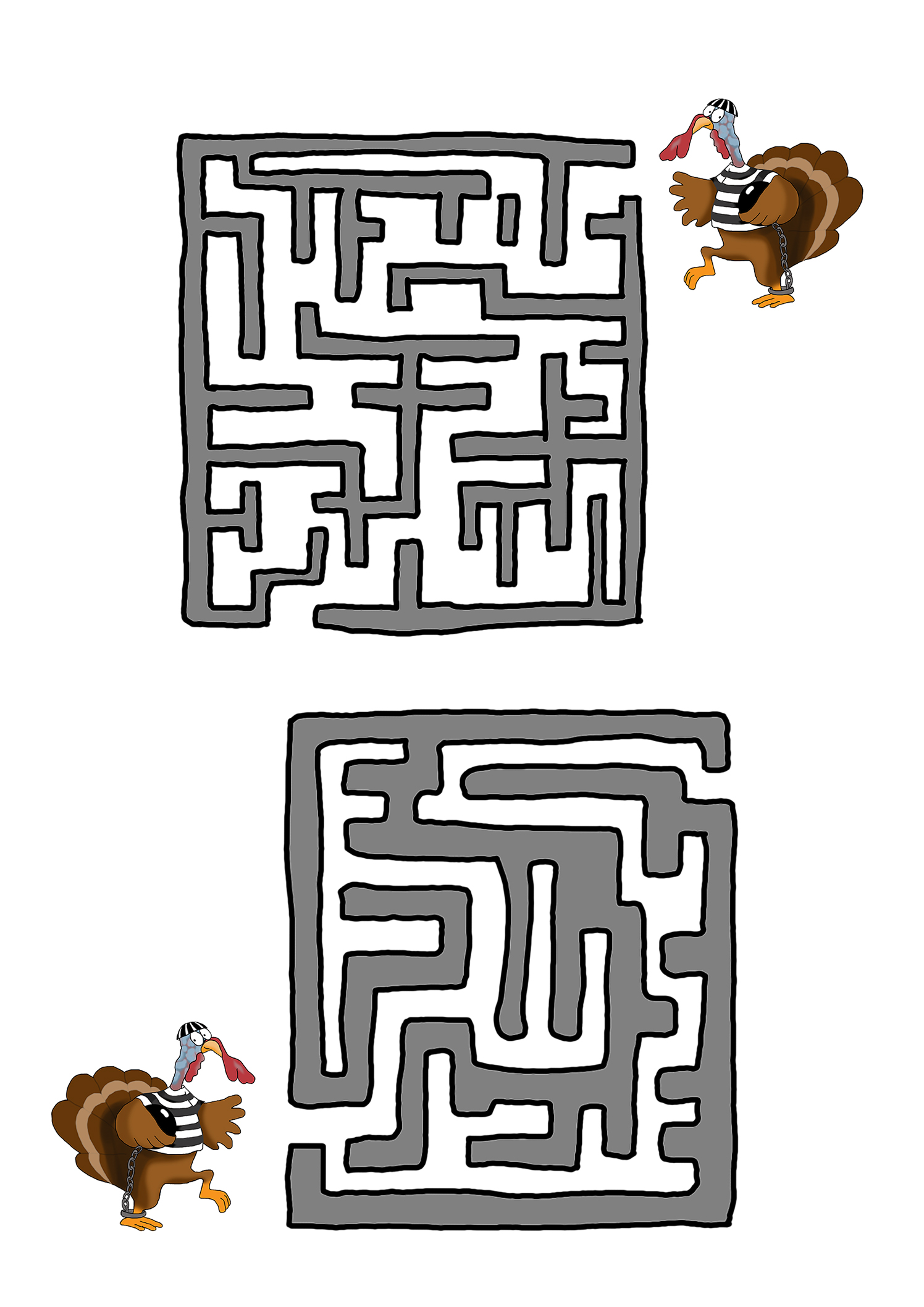 Funny preschool Thanksgiving mazes