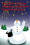 Happy New Year card with snowman and firework